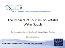The Impacts of Tourism on Potable Water Supply