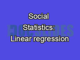 Social Statistics: Linear regression