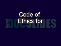 Code of Ethics for