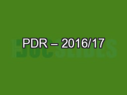 PDR – 2016/17 PowerPoint PPT Presentation