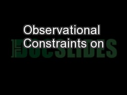 Observational Constraints on