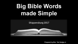 Big Bible Words made Simple PowerPoint PPT Presentation