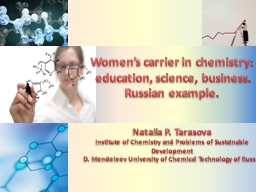 Women�s carrier in chemistry