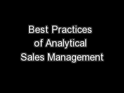 Best Practices of Analytical Sales Management