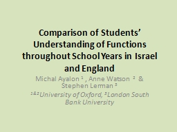 Comparison of Students� Understanding of Functions throug
