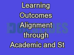 Student Learning Outcomes Alignment through Academic and St