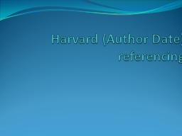 Harvard (Author Date) referencing