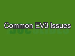 Common EV3 Issues