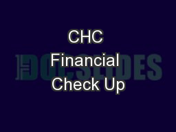 CHC Financial Check Up