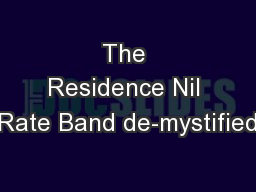 The Residence Nil Rate Band de-mystified