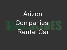 Arizon Companies' Rental Car