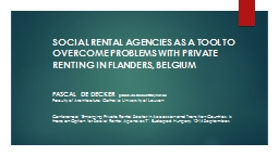 SOCIAL RENTAL AGENCIES AS A TOOL TO  OVERCOME PROBLEMS WITH