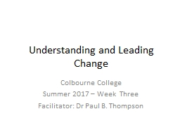 Understanding and Leading Change PowerPoint PPT Presentation