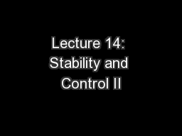 Lecture 14: Stability and Control II PowerPoint PPT Presentation