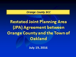 Restated Joint Planning Area (JPA) Agreement between