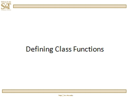 Defining Class Functions