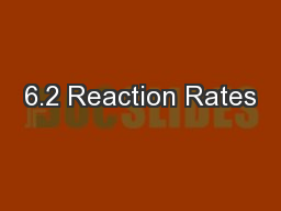 6.2 Reaction Rates