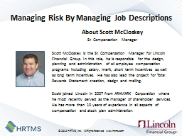 Managing Risk By Managing Job Descriptions