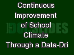 Continuous Improvement of School Climate Through a Data-Dri