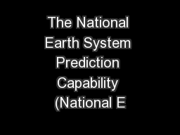 The National Earth System Prediction Capability (National E