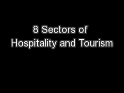 8 Sectors of Hospitality and Tourism
