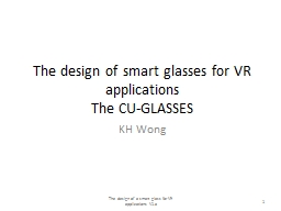The design of smart glasses for VR applications