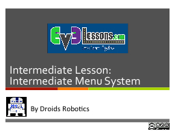 Intermediate Lesson: Intermediate Menu System