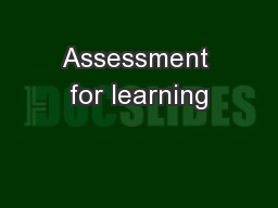 Assessment for learning PowerPoint PPT Presentation