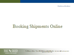 Booking Shipments Online