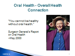 Oral Health - Overall Health Connection