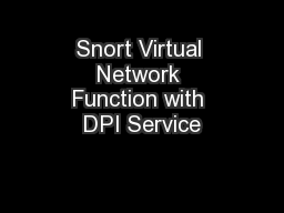 Snort Virtual Network Function with DPI Service