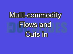 Multi-commodity Flows and Cuts in
