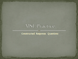 Constructed Response Questions PowerPoint PPT Presentation
