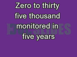 Zero to thirty five thousand monitored in five years PowerPoint PPT Presentation
