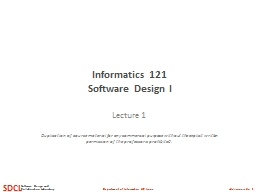 Informatics 121 PowerPoint PPT Presentation