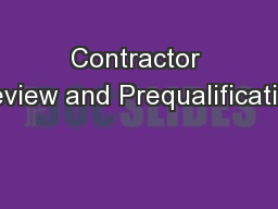 Contractor Review and Prequalification