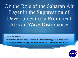 On the Role of the Saharan Air Layer in the Suppression of