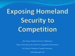 Exposing Homeland Security to Competition PowerPoint PPT Presentation