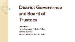 District Governance and Board of Trustees