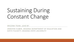 Sustaining During Constant Change