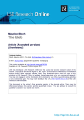 Maurice Bloch The blob Article Accepted version Unrefe