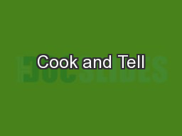 Cook and Tell