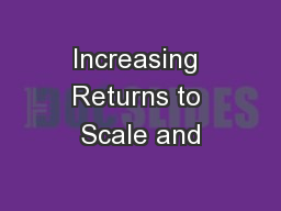 Increasing Returns to Scale and
