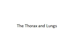 The Thorax and Lungs