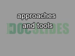 approaches and tools