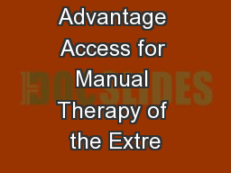 Navigate 2 Advantage Access for Manual Therapy of the Extre