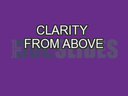 CLARITY FROM ABOVE