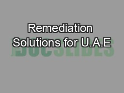 Remediation Solutions for U.A.E