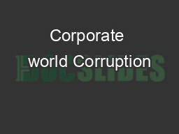 Corporate world Corruption