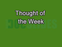 Thought of the Week PowerPoint PPT Presentation